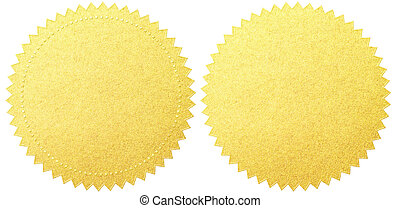 gold seal labels set with clipping path included