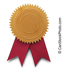 Gold Embossed Seal with Copy Space and Red Ribbons Isolated on White Background.