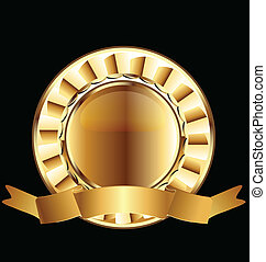 Gold seal ribbon emblem vector