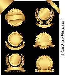 Set of 6 different gold seals with banners and wreaths, and 2 gold corner banners. Colors are just a few global swatches, so they can be modified easily. File is layered, and each seal is grouped separately for easy editing.