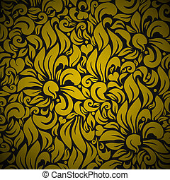 Gold Seamless Floral Background