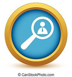 Gold search person icon