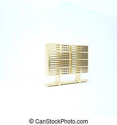 Gold Server, Data, Web Hosting icon isolated on white background. 3d illustration 3D render