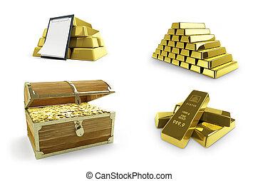 gold set on a white background 3D illustration, 3D rendering