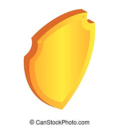 Gold shield icon in isometric 3d style