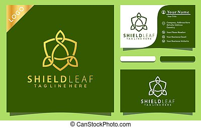 gold shield logo design inspiration vector illustration, modern company icon business card template