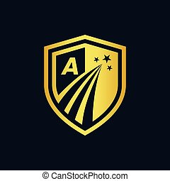 gold shield logo with growth star concept