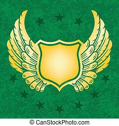 Gold shield on green grunge background