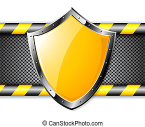 Gold shield over steel dotted background