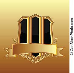 Gold shield ribbon logo