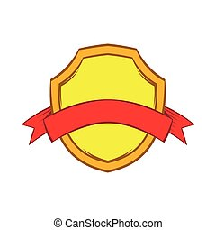 Gold shield with red ribbon icon, cartoon style