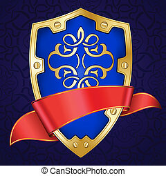 Gold shield with red ribbon