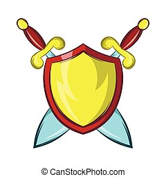 Gold shield with two crossed knight swords icon