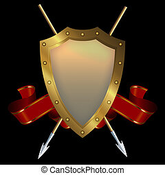 Medieval gold riveted shield with spears and red banner on black background.