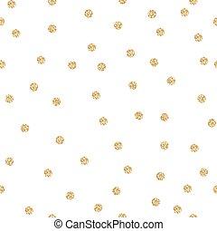 Gold shimmer glitter polka dot seamless pattern. Vector foil...