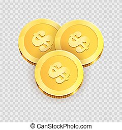 Gold shiny coins with dollar signs isolated illustration