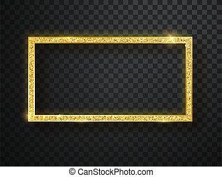 Gold shiny frame on a transparent background. vector illustration.