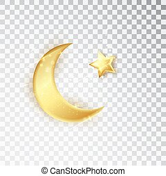 Gold shiny glowing half moon with star isolated on white background. Crescent Islamic for Ramadan Kareem design element. Vector illustration
