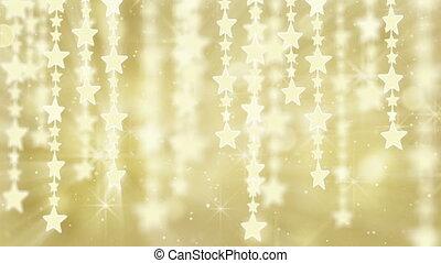 gold shiny hanging stars loop back