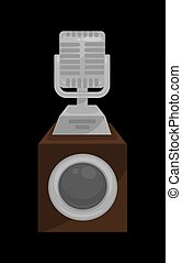Gold shiny microphone on steady stand isolated cartoon flat...