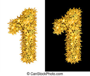 Gold shiny stars number 1, black and white background