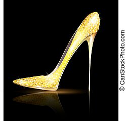 gold shoe - dark background and the golden ladys shoe-spiky
