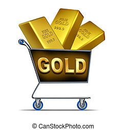 Gold shopping - Shopping for gold symbol represented by a...