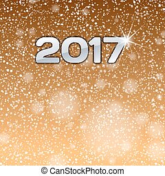 Gold background with 2017 numbers. New year symbol.