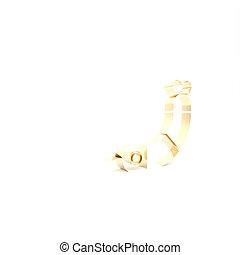 Gold Shrimp icon isolated on white background. 3d illustration 3D render
