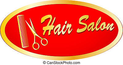gold sign of hair salon