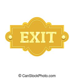 Gold signboard with text exit for your design vector illustration isolated on white background