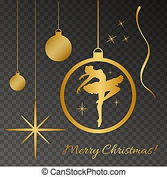 Gold silhoette of dancind balerina, christmas ball, Merry...