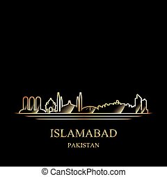 Gold silhouette of Islamabad on black background vector...