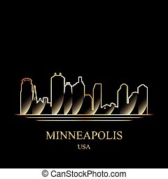 Gold silhouette of Minneapolis on black background vector...