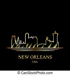 Gold silhouette of New Orleans on black background