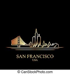 Gold silhouette of San Francisco on black background