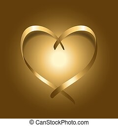 Gold silk ribbon heart. Golden satin silhouette on shiny...