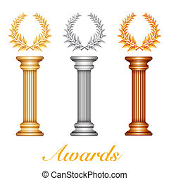 Gold silver and bronze award column with laurel wreath for jubilee text or competition winner over sun rays background. Vector EPS10 illustration