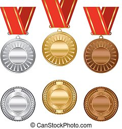Gold silver and bronze award medals set