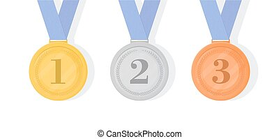 Gold, silver and bronze award medals with ribbons. First, second