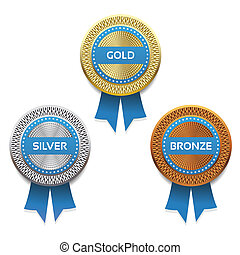 Gold, silver and bronze awards.