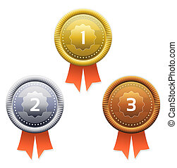 Gold, silver and bronze awards. Vec