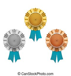 Gold, silver and bronze awards. Vector.