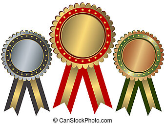 Gold, silver and bronze awards with ribbons and stars on white background