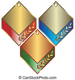 Gold, silver and bronze banners on white backgroun