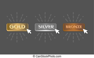 Gold Silver and Bronze buttons set with mouse click icon vector illustration