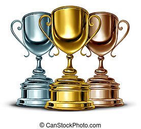 Gold silver and bronze trophies and trophy award as the best three winners of a sport or sporting competition as a symbol of sportsmanship and success as a group of leaders in an important event on white.