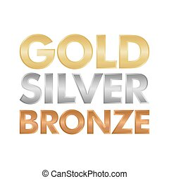 Gold Silver and Bronze letter set vector illustration