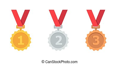 Gold, silver and bronze medal with red ribbon Medal vector icon set. First, second and third place medal isolated on white background. Simple flat style.