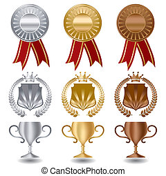 Gold silver and bronze medals award set.